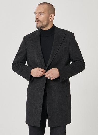 Beymen Business 4B0520100003 Standart Fit Palto Desenli Antrasit